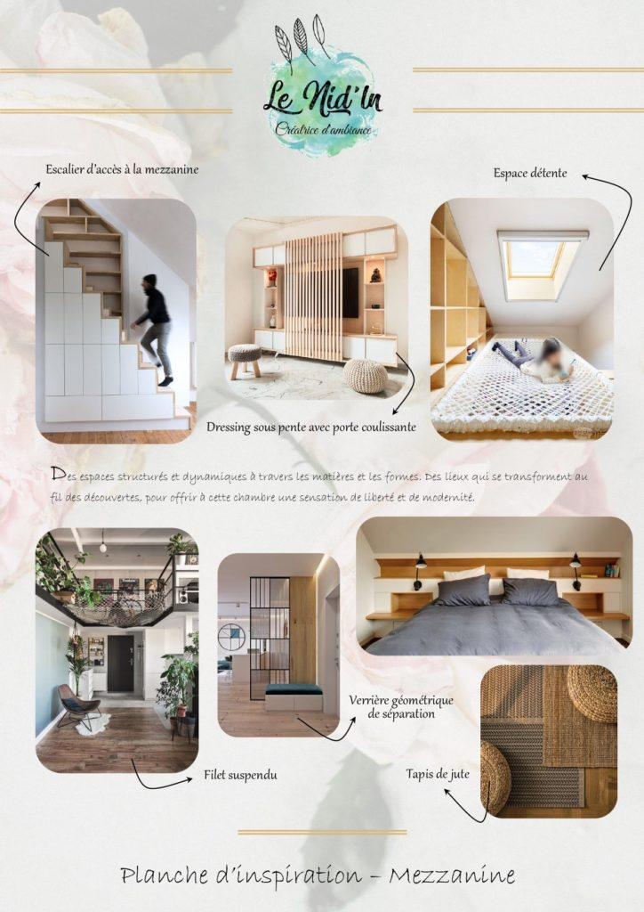 LE NID LN PLANCHE INSPIRATION AMENAGEMENT DECORATION CHAMBRE PARENTALE TOIT CATHEDRALE FILET SUSPENDU